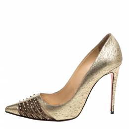 Christian Louboutin Gold Textured Leather Spiked Bareta Pumps Size 37 326571