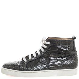 Christian Louboutin Grey Python Louis High Top Sneakers Size 45 326779