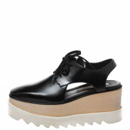 Stella McCartney Black Faux Leather Elyse Cutout Platform Derby Size 35.5 425222