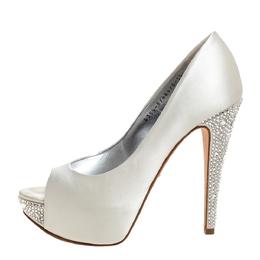 Gina White Satin Jenna Crystal Embellished Heel Peep Toe Platform Pumps Size 38.5 326741