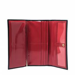 Carolina Herrera Black Patent Leather Continental Wallet 326902