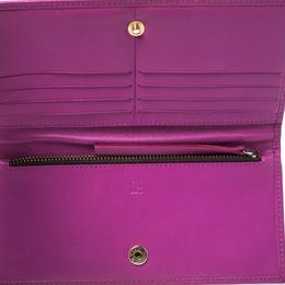 Carolina Herrera Magenta Embossed Leather Bifold Continental Wallet 326905