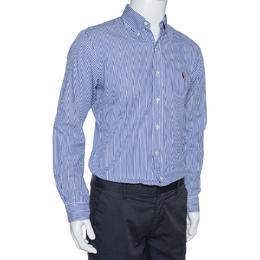 Ralph Lauren Blue Striped Cotton Long Sleeve Slim Fit Shirt M 326177