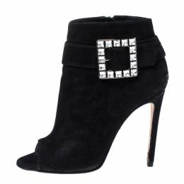 Gina Black Suede Crystal Embellished Buckle Peep Toe Ankle Boots Size 40 323023