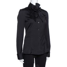 Emporio Armani Black Stretch Cotton Bow Detail Shirt M 325910