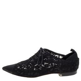 Chanel Black Floral Lace Cap Toe Lace Up Oxfords Size 41 326435