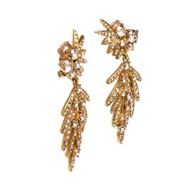 Oscar De La Renta Crystal Tropical Palm Clip-On Earrings 326430