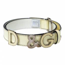 D&G Light Cream Patent Leather Logo Belt 80CM Dandg 326924