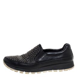 Prada Sport Black Leather Studded Slip On Sneakers Size 37 325713