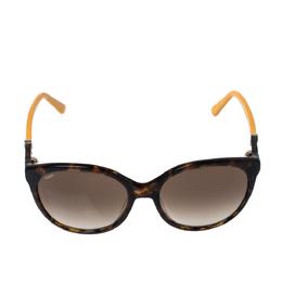 Tod's Dark Havana & Mustard/ Brown Gradient TO174 Round Sunglasses 326470