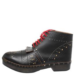 Burberry Black Studded Leather Antrim Fringe Detail Clog Ankle Boots Size 45 326853