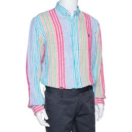Ralph Lauren Multicolor Striped Linen Button Down Long Sleeve Shirt L 325570