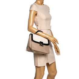 Kate Spade Beige/Black Snakeskin Embossed Leather Pushlock Flap Top Handle Bag 326554