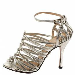Charlotte Olympia Silver Shimmer Leather Diva Caged Sandals Size 36 326780