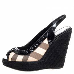 Burberry Black Patent And Check Canvas Slingback Platform Wedge Espadrilles Size 38 326142