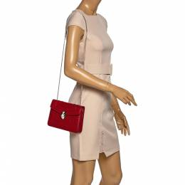 Bvlgari Red Leather Small Serpenti Forever Shoulder Bag 322547
