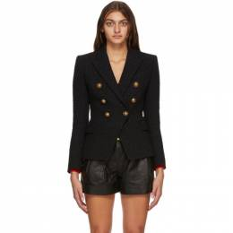 Balmain Black Tweed Six Button Blazer UF17110C257