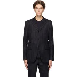 Comme Des Garcons Homme Deux Navy Wool Pinstripe Blazer DF-J022-051