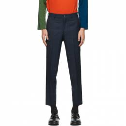 Comme Des Garcons Homme Deux Navy Wool Windowpane Trousers DF-P023-051