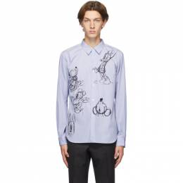 Comme Des Garcons Homme Deux Blue and White Striped Mickey Mouse Shirt DF-B021-051