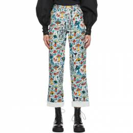Charles Jeffrey Loverboy Multicolored Shrooms Printed Jeans COREAW20ADJE
