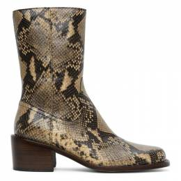 Dries Van Noten Beige Snake Zip-Up Boots MW28/027 QU302