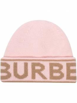 Burberry кашемировая шапка бини с логотипом вязки интарсия 8023984