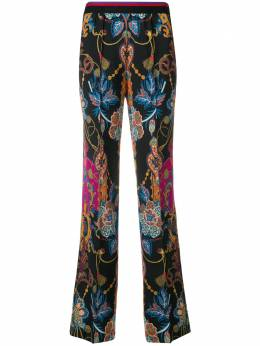 Etro striped waisted flare leg trousers 132205178