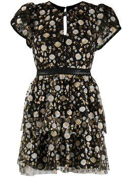 Self-Portrait ярусное платье мини с пайетками AW20028S