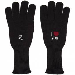 Raf Simons Black I Love You Gloves 202-853 100WO