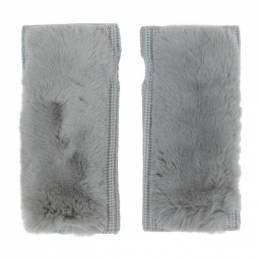 Yves Salomon Grey Cashmere and Fur Fingerless Gloves 21W20WAA515XXCARD
