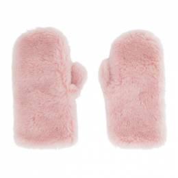 Yves Salomon Pink Wool Flap Mittens 21W21WAA308XXLATI