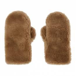 Yves Salomon Brown Convertible Wool Mittens 21W21WAA308XXLATI