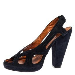 Givenchy Blue Suede Criss Cross Cut Out Slingback Platform Sandals Size 40 326806