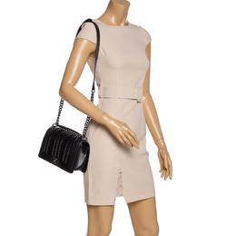 Chanel Black Pleated Leather Medium Boy Flap Bag 323877