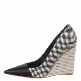 Dior Monochrome Canvas and Satin Dolce Vita Pointed Toe Espadrille Wedge Pumps Size 34.5 327417