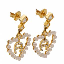Aigner Faux Pearl Heart Crystal Gold Tone Drop Earrings 325811