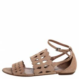Alaia Beige Laser Cut Suede Open Toe Flat Sandals Size 38.5 325724