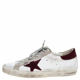Golden Goose White Leather And Suede Star Superstar Lace Up Sneakers Size 44 325754