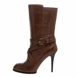 Tod's Brown Leather Criss Cros Strap Detail Mid Length Boots Size 40 326885