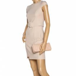 Carolina Herrera Peach Monogram Leather Jerry Clutch 326863