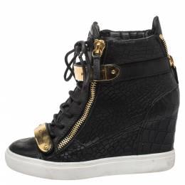 Giuseppe Zanotti Design Black Croc Embossed Leather Lorenz Wedge High Top Sneakers Size 37.5 326845