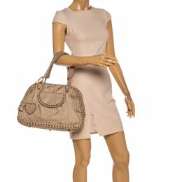 Christian Dior Beige Oblique Canvas and Leather Heart Charm Ethnic Shoulder Bag 327019
