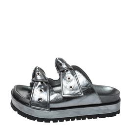 Alexander McQueen Metallic Grey Leather Birkenstock Rivet Bow Tie Slide Sandals Size 38.5 327152
