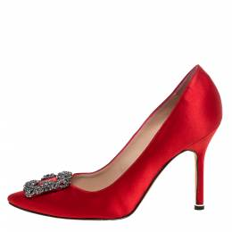 Manolo Blahnik Red Satin Hangisi Embellished Pointed Toe Pumps Size 37.5 326822