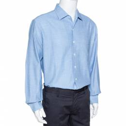 Loro Piana Blue Textured Cotton Long Sleeve Shirt XXL 326959
