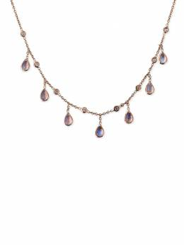 Jacquie Aiche колье из розового золота с подвесками из лунного камня и бриллиантов 19110134