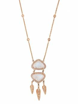 Jacquie Aiche колье из розового золота с подвесками из лунного камня и бриллиантов 19110875