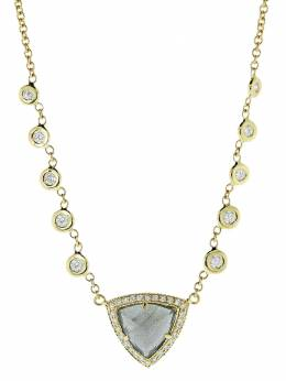 Jacquie Aiche золотое колье с бриллиантами и лабрадоритом 168625