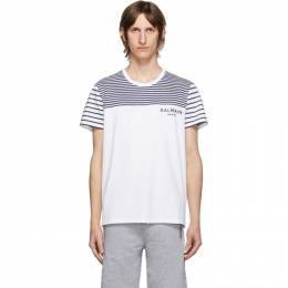 Balmain White and Navy Striped Logo T-Shirt UH11263I355